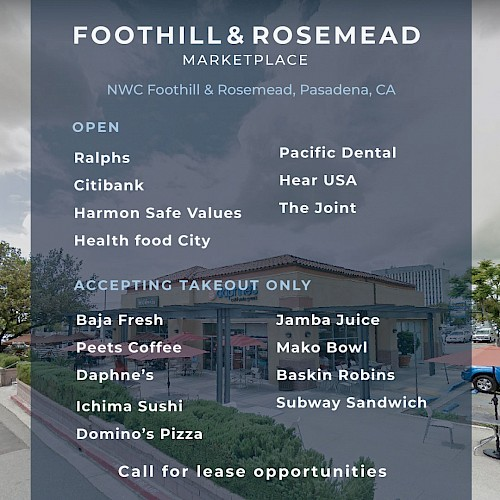 See What's Open at The Foothill & Rosemead Marketplace