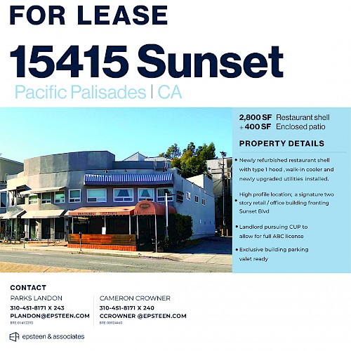Restaurant Space Available - Pacific Palisades